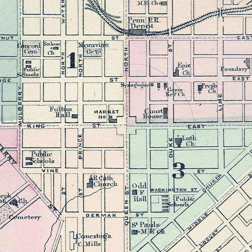Map of Lancaster City