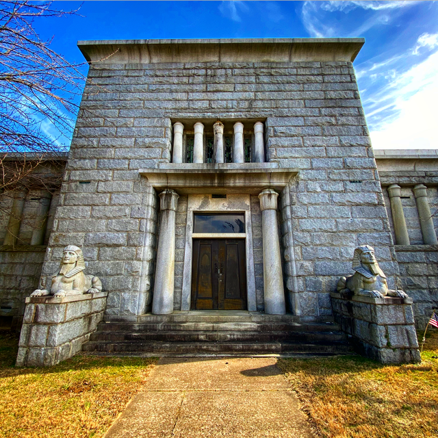 Entrance to the Greenwood Cemetery Mausoleum.