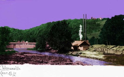 Colorized postcard of Colemanville with hydroelectric station in the center. The covered bridge is visible on the left.