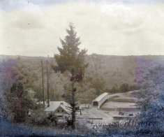 This photo was taken circa 1920 from the Conestoga Township side of Colemanville. The covered bridge, hydroelectric plant, and tailrace are visible in the photo.