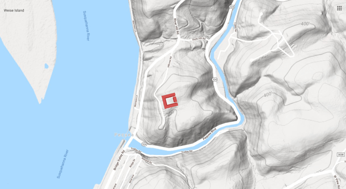 Here's the Pequehanna Inn shown on a topographical map on Hartman Hill.