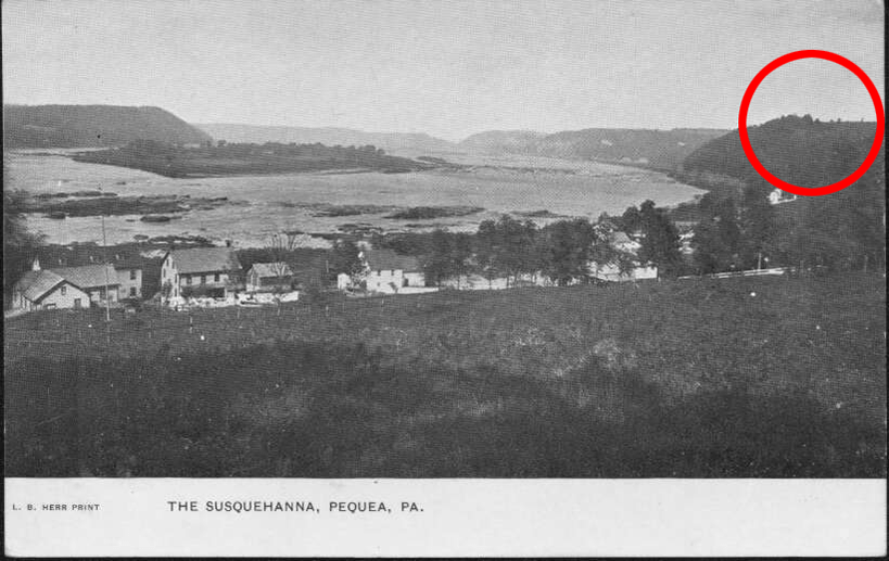 Photo of Pequea with Wise Island in the distance. Hartman Hill, where the Pequehanna Inn would have sat, is highlighted in the upper right-hand corner.