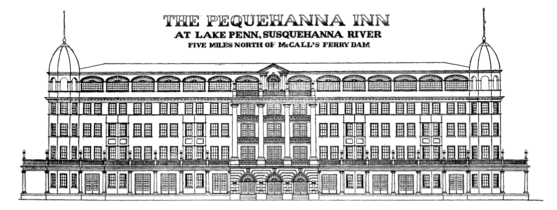 Artist's rendering of the Pequehanna Inn from the 1910 prospectus.
