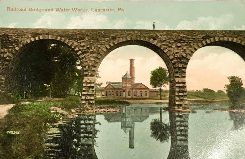 1910 colorized photo of RR Bridge & water works - 2018-04-12 FB post in The Lancastrian