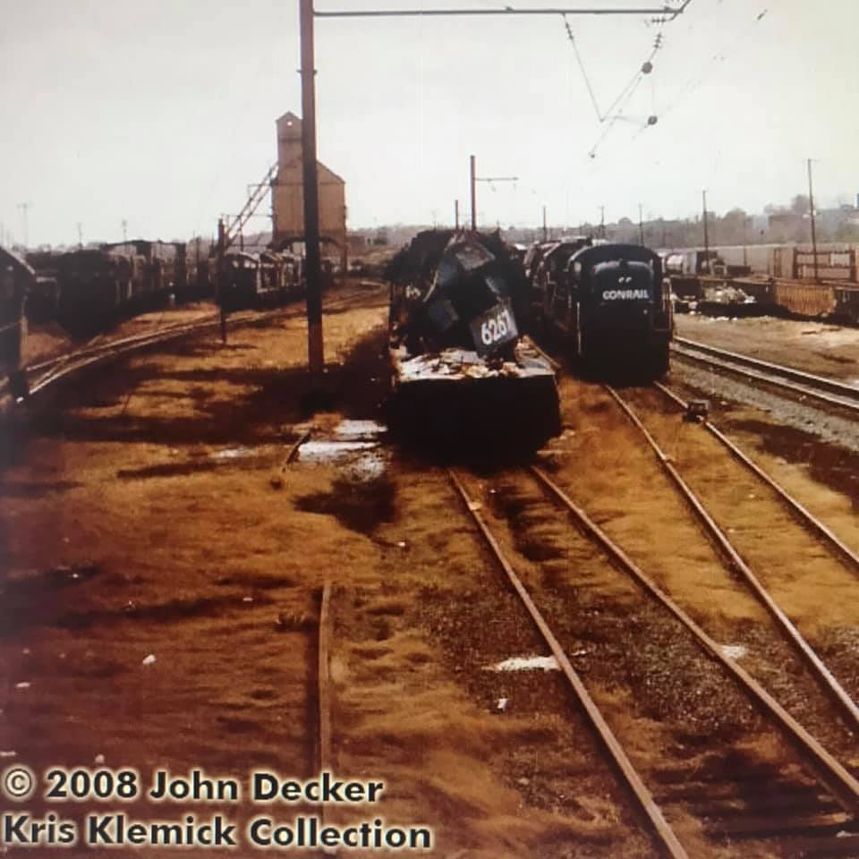 The crumpled front end of CR 6257 in the Enola train yard months after smashing into a 3-ton boulder.