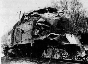 Locomotive CR 6253, the second engine pulling the 82-car load, at the scene of the accident the following morning.