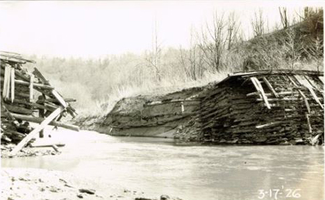 Dam breach at the Colemanville Hydroelectric plant on the Pequea. This photo was taken on March 17, 1926.