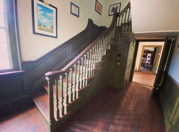 Main staircase to the second floor inside the Sehner-Ellicott-von Hess House.