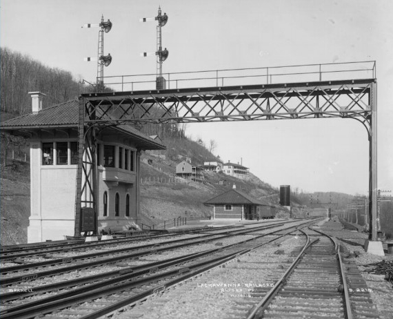 Clark's Summit Tower and Signal Bridge on the Lackawanna Railroad. Kingsley, just 21 miles north, would have had a very similar appearance in the early 1920s.