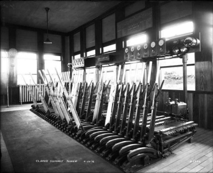 Interior of the nearby Clark 's Summit Tower, showing machine, indicators, annunciators, time releases, and electric locks. The Kingsley Tower's second floor interior would have been similar in appearance.
