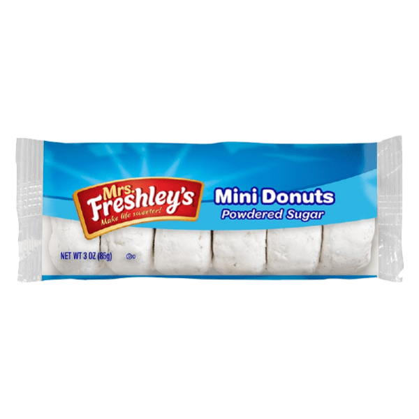 Pack of 6 Mrs Freshley's White Powdered Sugar Mini Donuts