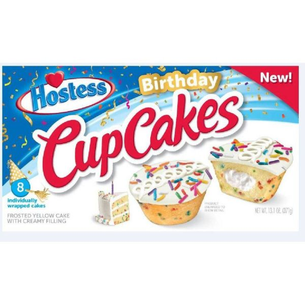 Box of Hostess Limited Edition Birthday CupCakes