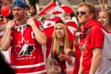 Pictures of people enjoying the Canada Day celebrations at London's Trafalgar Square.