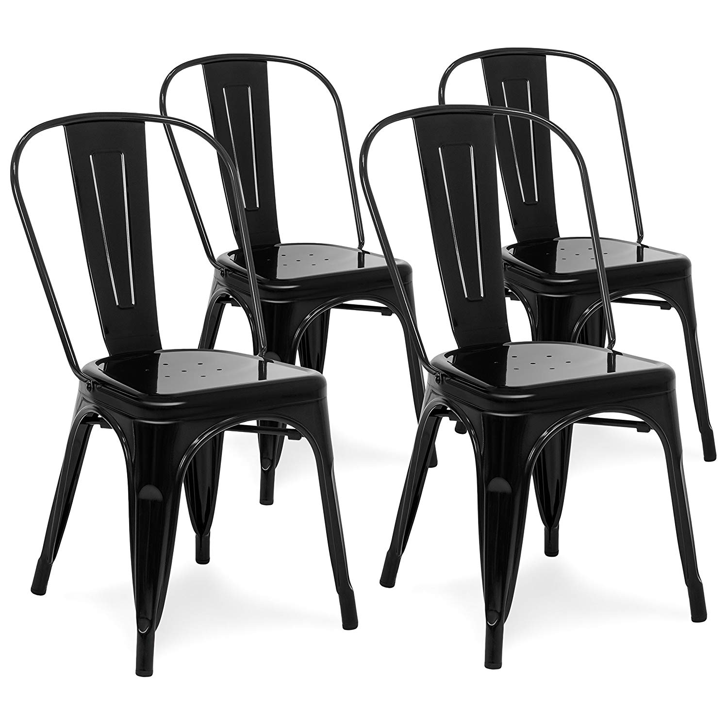 New 4 Industrial Metal Bistro Dining Chairs Stacking Black Cb4