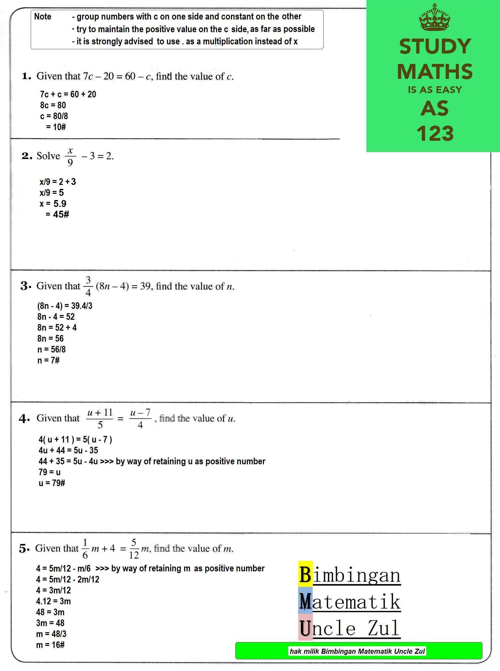 Form 2 Maths Algebra Amp Linear Equation