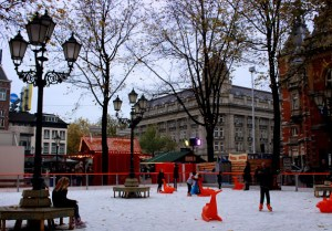 Skaters take to the ice on Leidseplein.