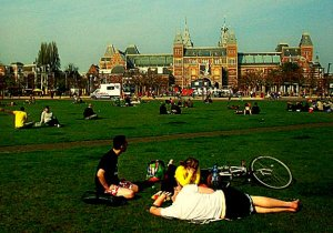 Museumplein is great spot for a picnic in Amsterdam.