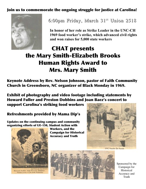 CHAT presents the Mary Smith-Elizabeth Brook Human Rights Award Flyer in the John Kenyon Chapman Papers #5441, Southern Historical Collection, Wilson Library, The University of North Carolina at Chapel Hill.