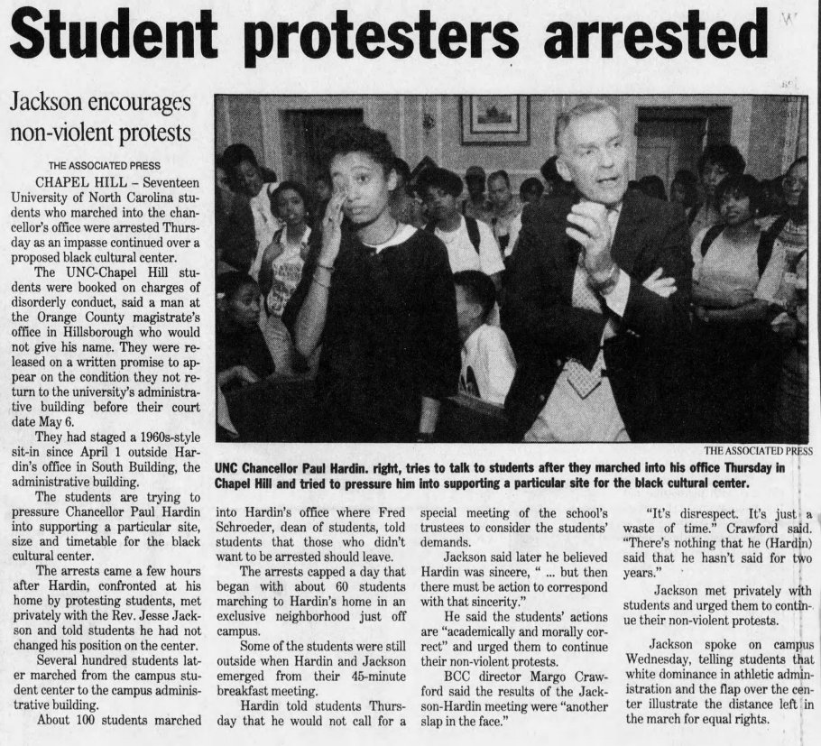 "Associated Press, ""Student Protestors Arrested,"" The Asheville Citizen Times, 16 April 1993, Page 2B."