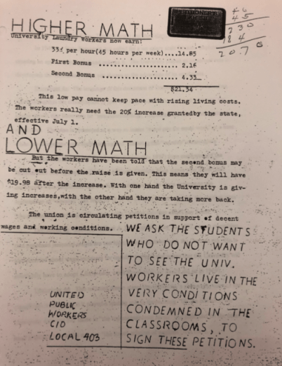 Sign the Petition to Support the 403-P Local, Union for University Laundry Workers, c. 1943 in the Alan McSurely Papers, #4928, Southern Historical Collection, Wilson Library, The University of North Carolina at Chapel Hill.