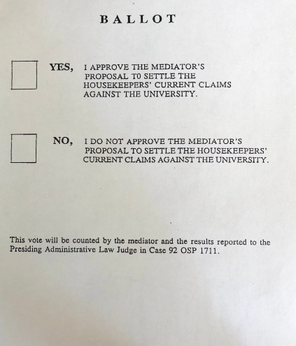 Ballot measure for voting on the settlement, November 1996 in the Alan McSurely Papers, #4928, Southern Historical Collection, Wilson Library, The University of North Carolina at Chapel Hill.