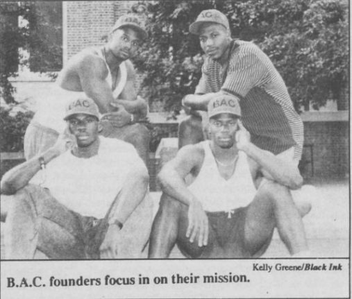 Members of the Black Awareness Council, (clockwise) John Bradley, Jimmy Hitchcock, Malcolm Marshall, and Tim Smith. Photo by Kelly Greene in Black Ink, 31 August 1992, Page 5.