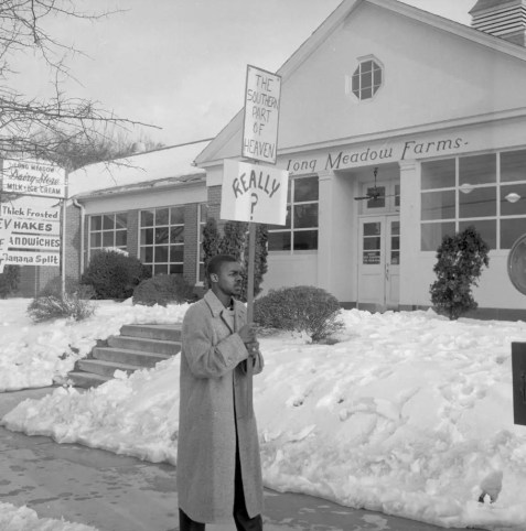 Civil Rights Demonstrators in Front of the Long Meadow Dairy Store, February 1960 in the Roland Giduz Photographic Collection #P0033, North Carolina Collection Photographic Archives, University of North Carolina at Chapel Hill.