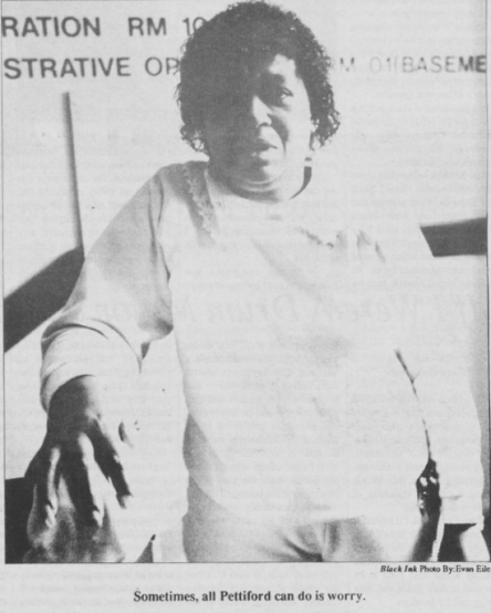 Annie Pettiford, one of the founders of the Housekeepers Association, Photo by Evan Eile inBlack Ink, 21 January 1992, Page 7.