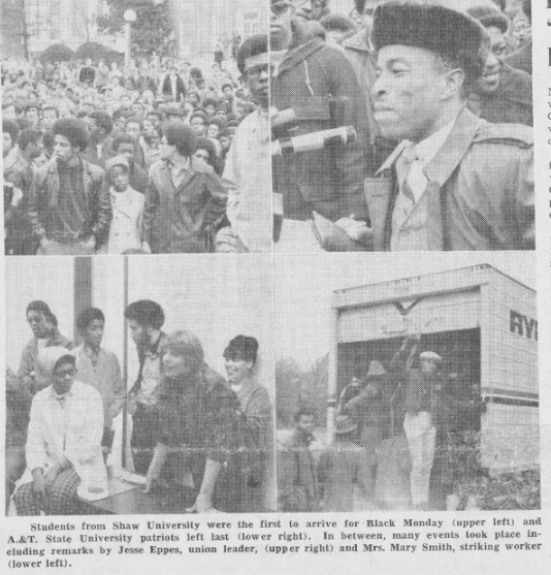 Photographs of Black Monday Protests, Black Ink, 1 December 1969, Page 1.