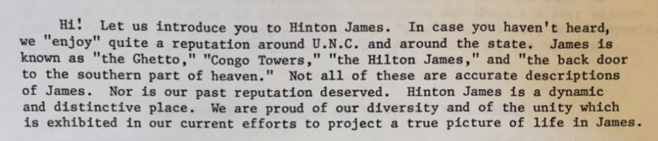 Letter from Hinton James Residence Hall Staff to Residents, July 1975 the Office of the Vice Chancellor for Student Affairs of the University of North Carolina at Chapel Hill Records #40124, University Archives, Wilson Library, The University of North Carolina at Chapel Hill.