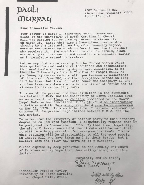 Letter from Pauli Murray to Nelson Ferebee Taylor, 16 April 1978 in the Office of Chancellor of the University of North Carolina at Chapel Hill: Nelson Ferebee Taylor Records #40023, University Archives, Wilson Library, The University of North Carolina at Chapel Hill.