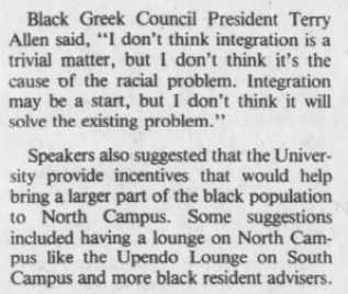"""Branen, Amy, """"Dorm racial situations considered,"""" The Daily Tar Heel, 13 October 1983, Page 4."""