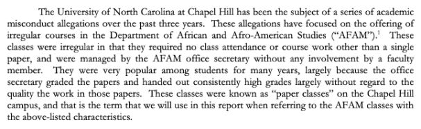 "Selection from the ""Investigation of Irregular Classes in the Department of African and Afro-American Studies at the University of North Carolina at Chapel Hill"" October 2014."