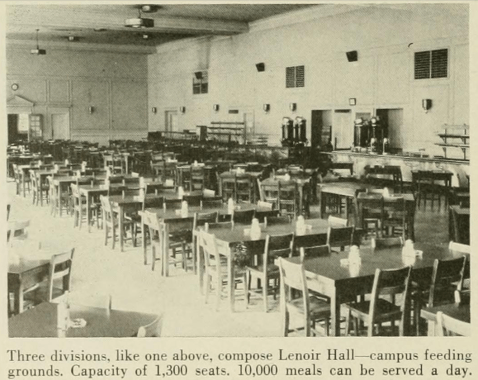 Interior of Lenoir Hall, Yackety Yack Yearbook, 1950.