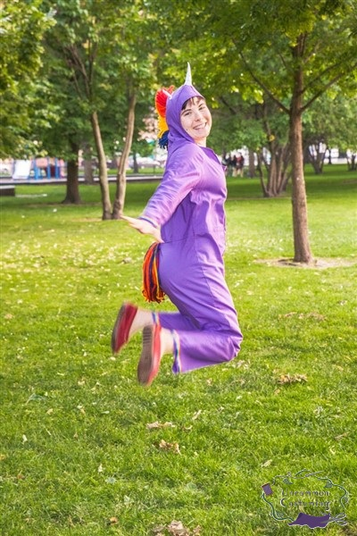 Rainbow Unicorn Jumpsuit, jumping