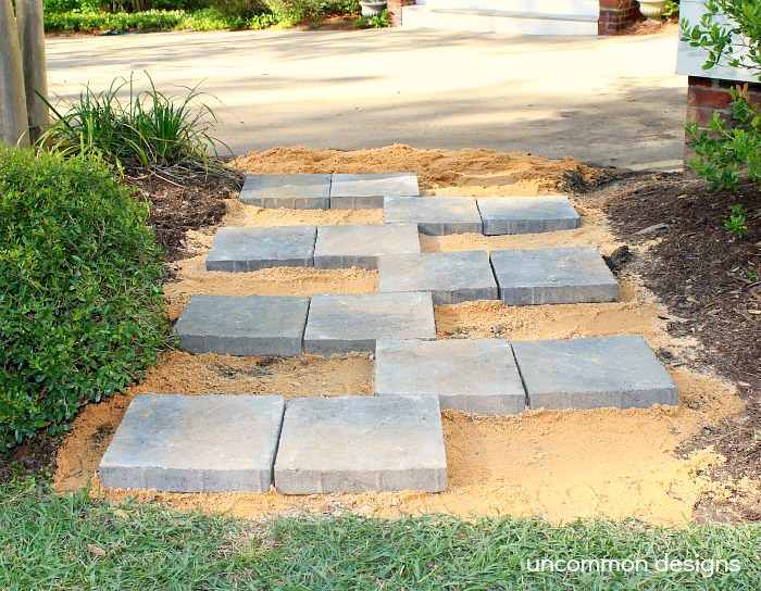 creating a paver stone zipper pathway