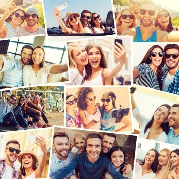 We love selfie! Collage of diverse multi-ethnic young people making selfie and expressing positivity