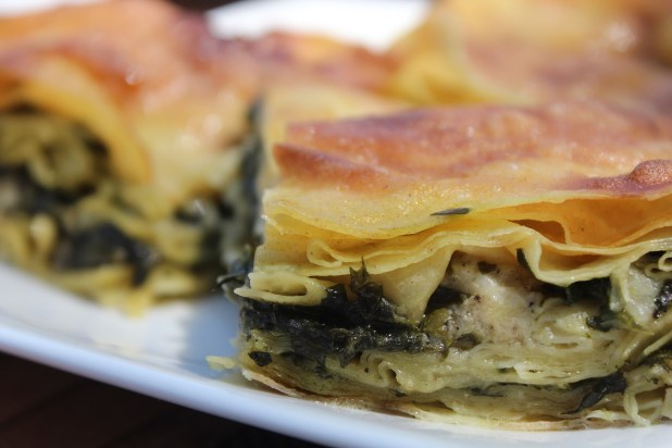 Turkish börek stuffed with spinach and cheese