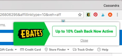 screenshot of ebates notification
