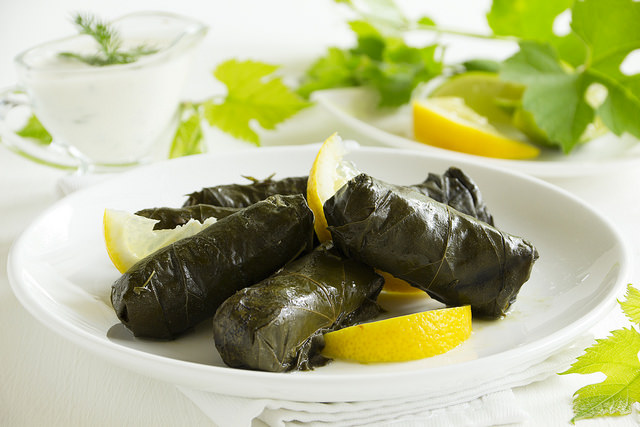 Turkish dolma made with grape leaves