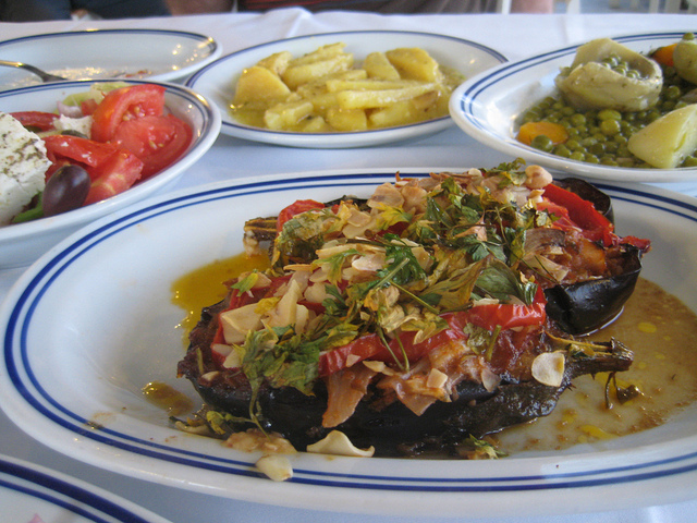 Turkish karniyarik stuffed eggplant