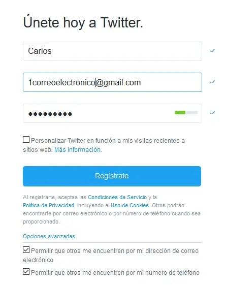 Twitter Formulario registro