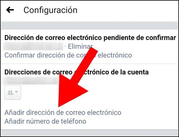 añadir dirección de correo electrónico Facebook