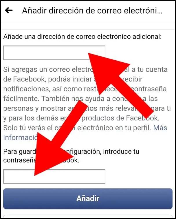 Agregar correo electrónico de Facebook