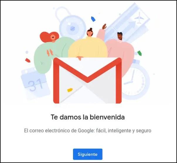 mensaje de bienvenida de Gmail