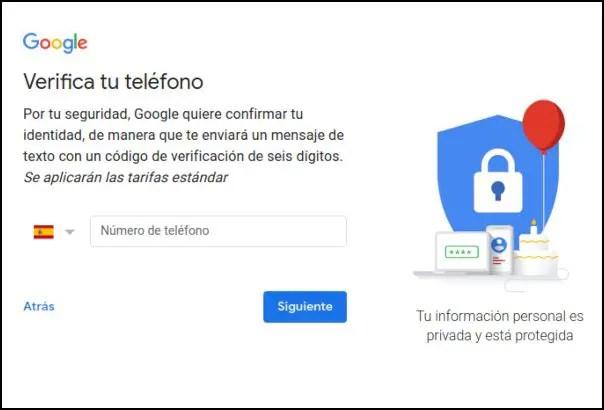 numero de teléfono Gmail