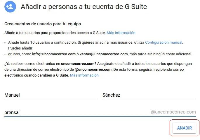 añadir personas a G Suite