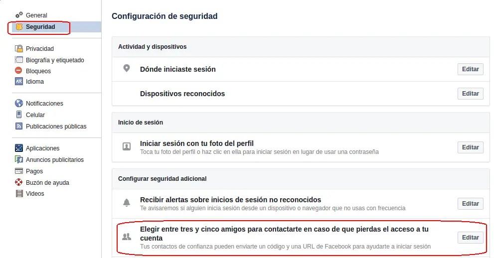 contactos de confianza de facebook