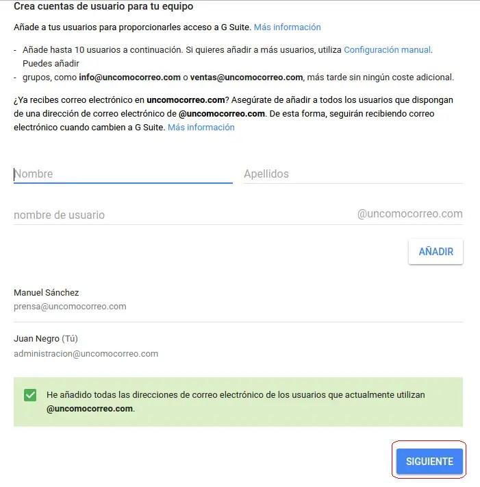 cuentas de usuario de G Suite