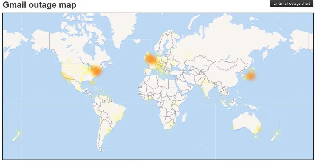 mapa de problemas de gmail en el mundo